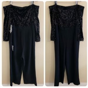 Eliza J Jumpsuit 22W Black Off the Shoulder Sequin